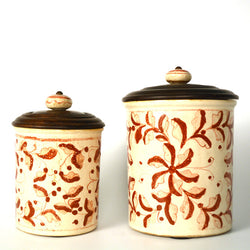 Ceramic Floral Round Air Tight Kitchen Jar, Small - FOLKBRIDGE.COM | Buy Gifts. Indian Handicrafts. Home Decorations.