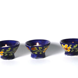 Ceramic Floral Blue Diya or Lamp - FOLKBRIDGE.COM | Buy Gifts. Indian Handicrafts. Home Decorations.