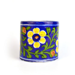 Ceramic Green Floral Round Pen Holder - FOLKBRIDGE.COM | Buy Gifts. Indian Handicrafts. Home Decorations.