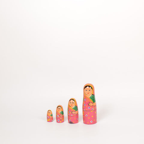 Russian Dolls, Pink, Set of 5 - FOLKBRIDGE.COM | Buy Gifts. Indian Handicrafts. Home Decorations.