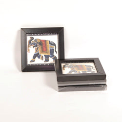 Painted Elephant Coasters, Set of 4 - FOLKBRIDGE.COM | Buy Gifts. Indian Handicrafts. Home Decorations.