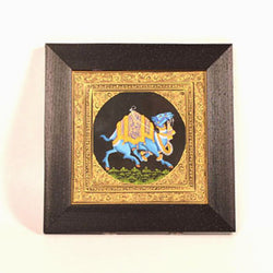 Blue Camel Miniature Painting, Large - FOLKBRIDGE.COM | Buy Gifts. Indian Handicrafts. Home Decorations.