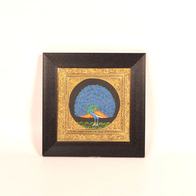Blue Peacock Miniature Painting, Large - FOLKBRIDGE.COM | Buy Gifts. Indian Handicrafts. Home Decorations.