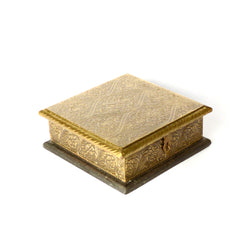 Flat  Wood and Brass Small Box, Geometric Design,  Black and Gold - FOLKBRIDGE.COM | Buy Gifts. Indian Handicrafts. Home Decorations.