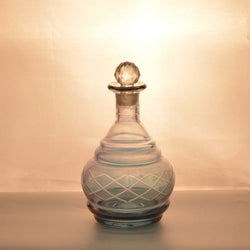 Blue Glass Decanter with Etching Work, Small - FOLKBRIDGE.COM | Buy Gifts. Indian Handicrafts. Home Decorations.