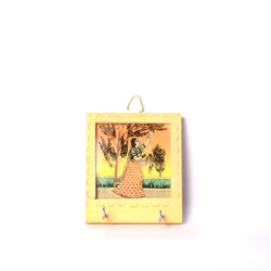 Wooden Hand Painted Key Holder, Plucking from a Tree Scene, Two Pegs - FOLKBRIDGE.COM | Buy Gifts. Indian Handicrafts. Home Decorations.