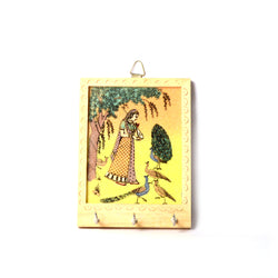 Wooden Hand Painted Key Holder, Playing with Peacocks Scene, Three Pegs - FOLKBRIDGE.COM | Buy Gifts. Indian Handicrafts. Home Decorations.