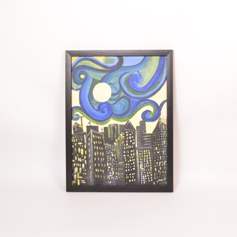 City Life Multicolored Acrylic Painting - FOLKBRIDGE.COM | Buy Gifts. Indian Handicrafts. Home Decorations.