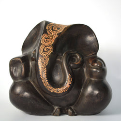Ceramic Dark Brown Ganesh Idol - FOLKBRIDGE.COM | Buy Gifts. Indian Handicrafts. Home Decorations.