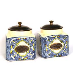 Ceramic Blue Air Tight Square Kitchen Jars, Set of Two - FOLKBRIDGE.COM | Buy Gifts. Indian Handicrafts. Home Decorations.