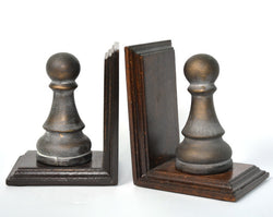 Brown Wooden Chess Pawn Book Ends - FOLKBRIDGE.COM | Buy Gifts. Indian Handicrafts. Home Decorations.