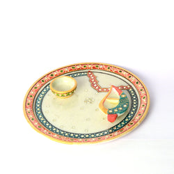 Stone Studded Round Marble Puja Plate Or Thali - FOLKBRIDGE.COM | Buy Gifts. Indian Handicrafts. Home Decorations.