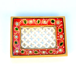 Square Stone Studded Marble White, Green Jali Tray, Small - FOLKBRIDGE.COM | Buy Gifts. Indian Handicrafts. Home Decorations.