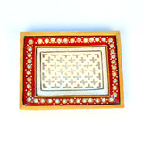 Rectangle Stone Studded Marble White, Red Jali Tray - FOLKBRIDGE.COM | Buy Gifts. Indian Handicrafts. Home Decorations.