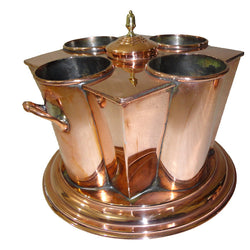 Copper Wine Cooler, 4 Bottles, Square Corners - FOLKBRIDGE.COM | Buy Gifts. Indian Handicrafts. Home Decorations.