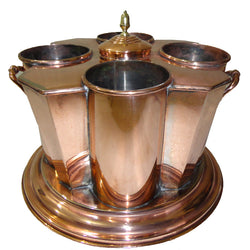 Copper Wine Cooler, 4 Bottles, Flat Corners - FOLKBRIDGE.COM | Buy Gifts. Indian Handicrafts. Home Decorations.