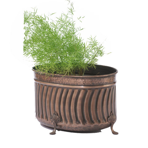 Brass Oval Planter, Large - FOLKBRIDGE.COM | Buy Gifts. Indian Handicrafts. Home Decorations.