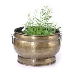 Brass Round Planter Golden, Small - FOLKBRIDGE.COM | Buy Gifts. Indian Handicrafts. Home Decorations.