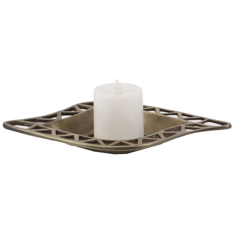 Artistic Golden Candle Tray - FOLKBRIDGE.COM | Buy Gifts. Indian Handicrafts. Home Decorations.
