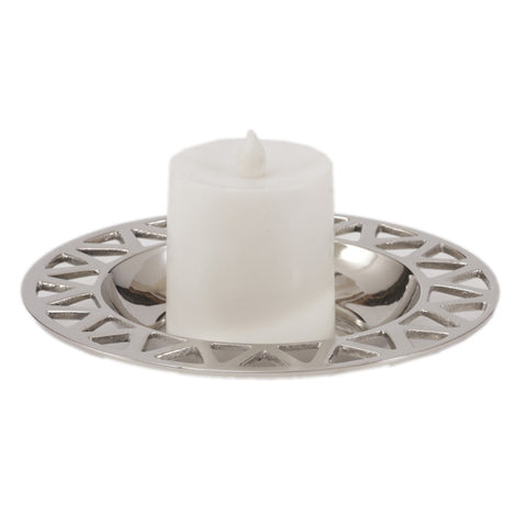 Artistic Silver Round Candle Tray - FOLKBRIDGE.COM | Buy Gifts. Indian Handicrafts. Home Decorations.