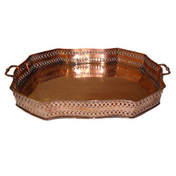 Cutwork Antique Copper Decorative Tray - FOLKBRIDGE.COM | Buy Gifts. Indian Handicrafts. Home Decorations.