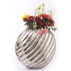 Round Silver Carved Vase, Large - FOLKBRIDGE.COM | Buy Gifts. Indian Handicrafts. Home Decorations.