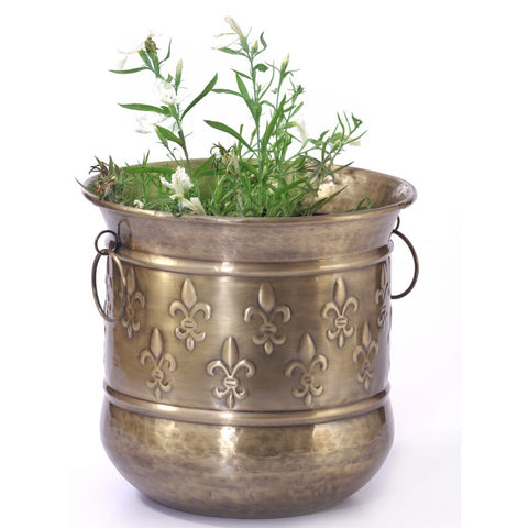 Brass Round Carved Planter, Large - FOLKBRIDGE.COM | Buy Gifts. Indian Handicrafts. Home Decorations.