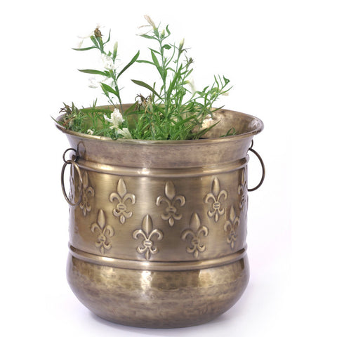 Brass Round Carved Planter, Small - FOLKBRIDGE.COM | Buy Gifts. Indian Handicrafts. Home Decorations.
