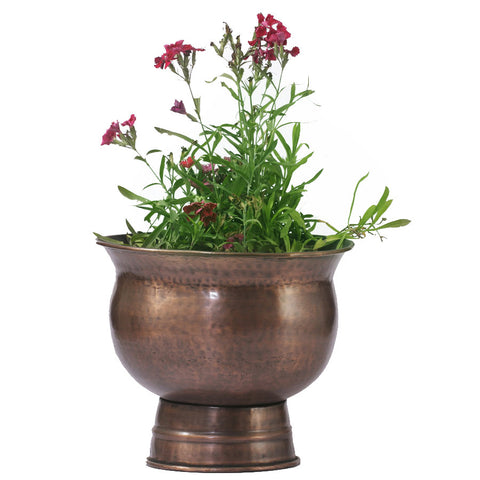 Copper Round Planter with Stand, Large - FOLKBRIDGE.COM | Buy Gifts. Indian Handicrafts. Home Decorations.