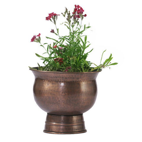 Copper Round Planter with Stand, Medium - FOLKBRIDGE.COM | Buy Gifts. Indian Handicrafts. Home Decorations.