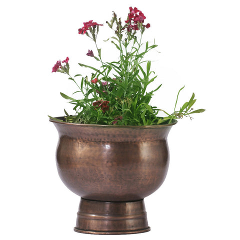Copper Round Planter with Stand, Small - FOLKBRIDGE.COM | Buy Gifts. Indian Handicrafts. Home Decorations.