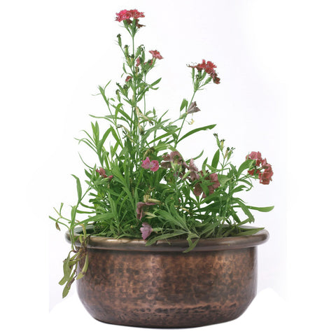 Copper Round Planter Bowl, Large - FOLKBRIDGE.COM | Buy Gifts. Indian Handicrafts. Home Decorations.