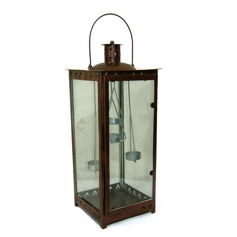 Copper Lantern with Hanging Holders, Small - FOLKBRIDGE.COM | Buy Gifts. Indian Handicrafts. Home Decorations.