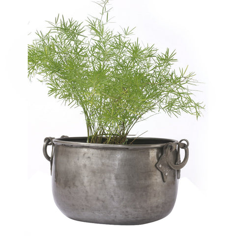 Round Silver Iron Planter, Medium - FOLKBRIDGE.COM | Buy Gifts. Indian Handicrafts. Home Decorations.