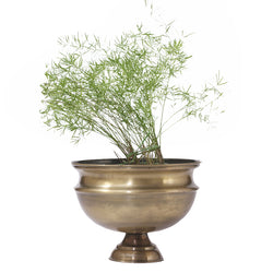 Antique Brass Finish Planter, Medium - FOLKBRIDGE.COM | Buy Gifts. Indian Handicrafts. Home Decorations.