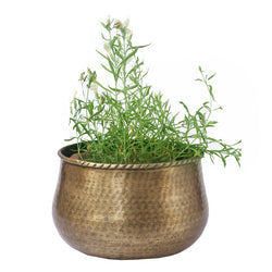 Round Brass Planter - FOLKBRIDGE.COM | Buy Gifts. Indian Handicrafts. Home Decorations.