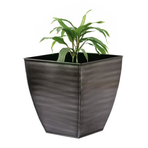 Black Silver Square Planter, Large - FOLKBRIDGE.COM | Buy Gifts. Indian Handicrafts. Home Decorations.