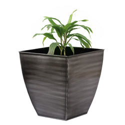 Black Silver Square Planter, Medium - FOLKBRIDGE.COM | Buy Gifts. Indian Handicrafts. Home Decorations.