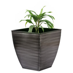 Black Silver Square Planter, Small - FOLKBRIDGE.COM | Buy Gifts. Indian Handicrafts. Home Decorations.