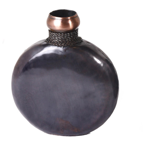 Black Round Vase, Small - FOLKBRIDGE.COM | Buy Gifts. Indian Handicrafts. Home Decorations.