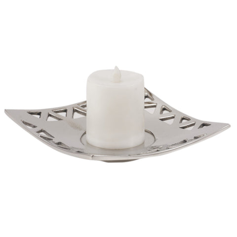 Curved Square Silver Candle Tray - FOLKBRIDGE.COM | Buy Gifts. Indian Handicrafts. Home Decorations.