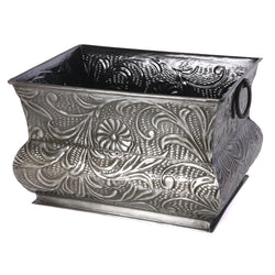 Carved Rustic Silver Rectangular Planter - FOLKBRIDGE.COM | Buy Gifts. Indian Handicrafts. Home Decorations.