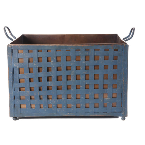 Basket Weave Pattern Rustic Metal Planter - FOLKBRIDGE.COM | Buy Gifts. Indian Handicrafts. Home Decorations.