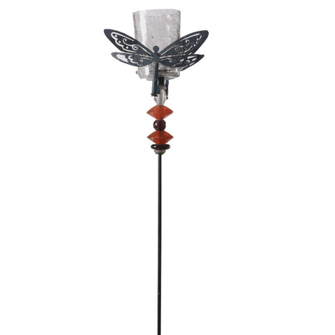 Black Dragonfly Garden Stick with Votive Glass - FOLKBRIDGE.COM | Buy Gifts. Indian Handicrafts. Home Decorations.