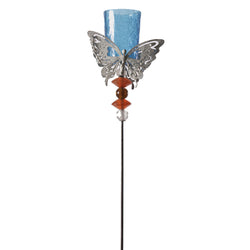 Butterfly Stake Candle Holder for Garden, Blue - FOLKBRIDGE.COM | Buy Gifts. Indian Handicrafts. Home Decorations.