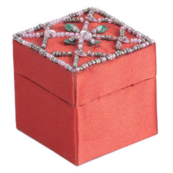 Small Orange Jewellery Box With Sequin Embroidery - FOLKBRIDGE.COM | Buy Gifts. Indian Handicrafts. Home Decorations.