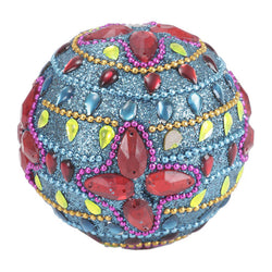 Decorative Blue Ball With Sequin Embroidery  - FOLKBRIDGE.COM | Buy Gifts. Indian Handicrafts. Home Decorations.