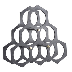 Black Six Wine or Bottle Holder, Hexagon - FOLKBRIDGE.COM | Buy Gifts. Indian Handicrafts. Home Decorations.