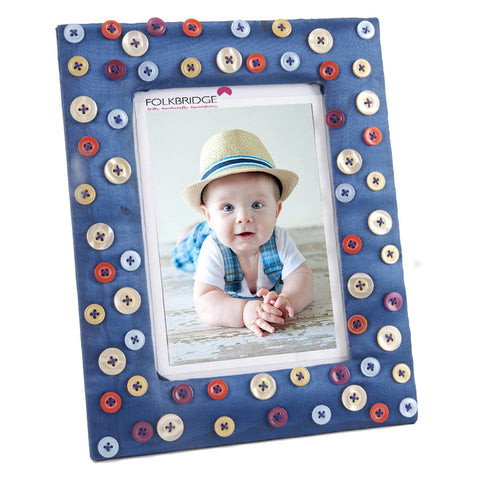 Decorative Blue Photoframe With Multicoloured Buttons - FOLKBRIDGE.COM | Buy Gifts. Indian Handicrafts. Home Decorations.