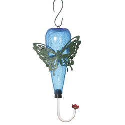 Blue Butterfly Glass Bird Feeder - FOLKBRIDGE.COM | Buy Gifts. Indian Handicrafts. Home Decorations.